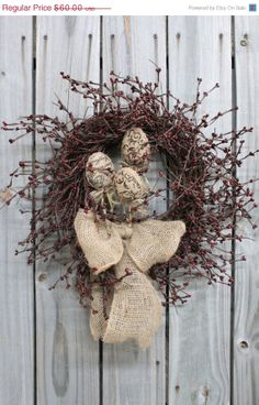 ON SALE Burlap Easter Eggs Primitive Easter by FloralsFromHome, $30.00