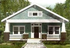 This 3 bed house has a front porch spanning its full 26'-width.The living room is in front and has a fireplace flanked by built-ins.A built-in seating option is a nice plus in the kitchen. The space is big enough for a moderate-sized island as well.A patio off the back gives you more outdoor living.