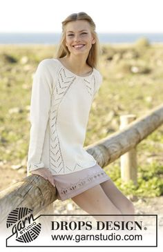 Knitted jumper with lace pattern and raglan, worked top down in DROPS Cotton Merino. Size: S - XXXL