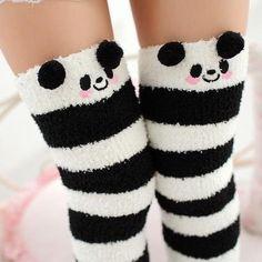 64914b3a4 Black Panda Bear Striped Thigh Highs Stockings Socks! So Kawaii! Fluffy