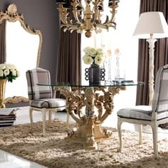 Reproduction Baroque Round Glass Classic Italian Dining Set at Juliettes Interiors. Large Round Dining Table, Glass Dining Table, Dining Set, Classic Dining Room, Italian Dining, Dream Furniture, Dining Room Design, Living Room Decor, Web Design
