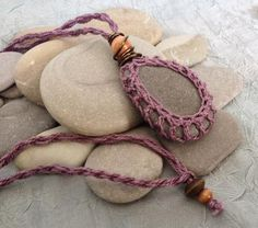 One of a kind Crocheted Stone Necklace