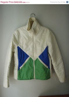 1970s Puffy Ski Jacket Womens Blue Green by StilettoGirlVintage, $29.40