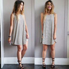A Potato Sack Dress in Stripes