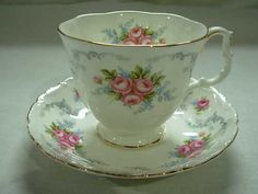 "Vintage Royal Albert ""Tranquility"" Tea Cup Saucer with Pink Roses Pretty 