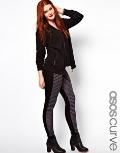 Plus Size ASOS CURVE Exclusive Leggings In Geo Color Block