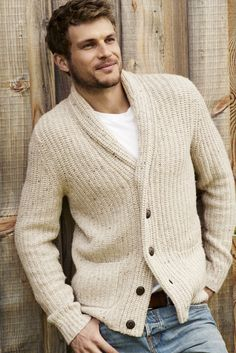 A&F From Past to Present // Shawl Cardigan Sweater: Have a little old-school spirit with a textured knitwear, featuring elbow patches, a button-down closure and front pockets // abercrombie.com
