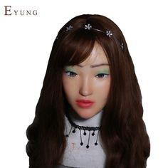 558.00$  Buy here - http://aliwi1.worldwells.pw/go.php?t=32776977875 - EYUNG-H-N8 Handmade Silicone Sexy And Sweet Half Female Face Sophia Crossdress Mask Crossdresser Doll 558.00$
