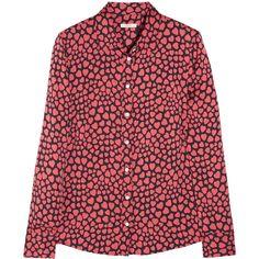 mine!! J.Crew Heart-print stretch-silk shirt ($135) ❤ liked on Polyvore