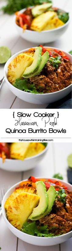 Slow Cooker Hawaiian Pork Burrito Bowls are a dinner saver as they cook all day in a homemade enchilada sauce then topped with sautéed peppers and juicy, seared pineapple