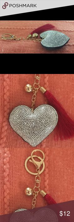 Gray and Red Puffed Heart With Red Tassel keychain Gray and Red Puffed with Red Tassel Key Chain Accessories Key & Card Holders