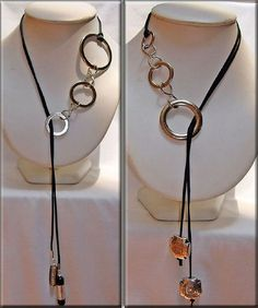 Black Gold Jewelry For Beautiful Pieces - Jewelry Daze Leather Necklace, Diy Necklace, Leather Jewelry, Necklace Designs, Wire Jewelry, Jewelry Crafts, Jewelry Art, Beaded Jewelry, Jewelery
