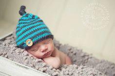 $28 Turquoise Dark Gray Stripes Baby  Hat,  NEWBORN Boy Photo Prop , BABY handmade knit hat