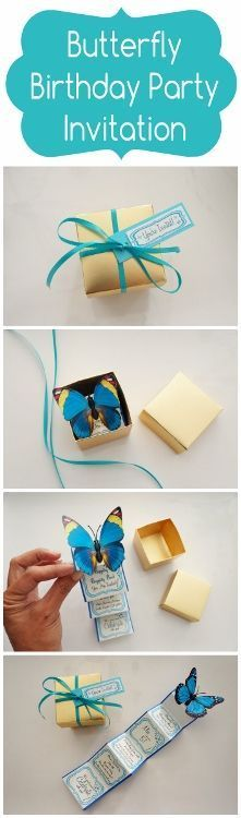 Butterfly Birthday Party Invitation in a Box - made for a Cinderella (movie 2015) birthday party.