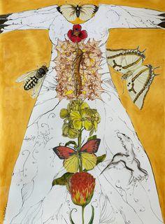 "Chrysalis mixed media on paper 24"" x 36"" dress art"