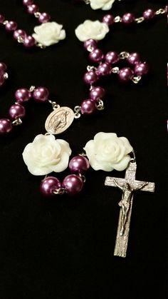 Handmade Chain Rosary: Purple And White Rose by GardenOfRosaries