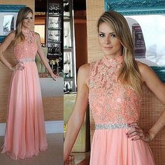 Halter Floor Length Prom Dresses Lace and Beads Bodice pst0080