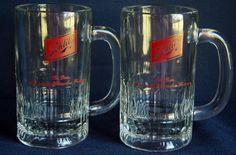 """Vintage Schlitz Beer Mugs Pair Clear Glass Red Logo 5.5"""" Heavy Duty EUC #Schlitz #VintageBeer"""