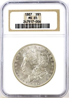 1887 $1 United States Morgan Silver Dollar Officially Graded NGC MS65