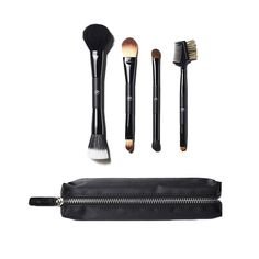 If You're Getting Ready En Route - Cut the clutter in your makeup bag with these double-ended brushes. They're perfect on the go.