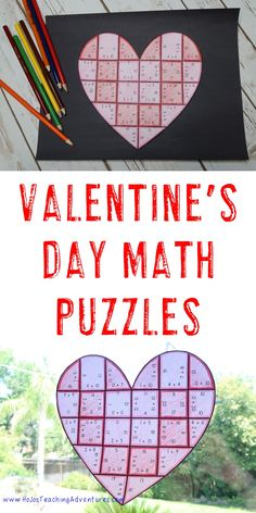 Valentine's Day Division, Multiplication, Addition, & Subtraction Heart Puzzles - These puzzles are perfect for math centers during Valentine's Day week. They're perfect for first, second, third or fourth grade students (or 5th graders who need review). Use them for early or fast finishers, review, enrichment, GATE, critical thinking, centers, and more! {1st, 2nd, 3rd, 4th, 5th graders, February, math test prep, basic facts, adding, subtracting, multiplying, dividing}