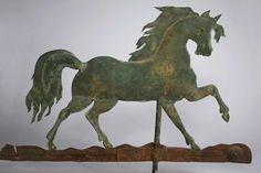 Moulded and Gilded Copper Prancing Horse Weathervane | Folk Art