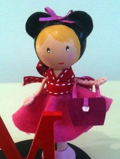 Birthday Cake Topper Minnie Mouse Clothespin Doll