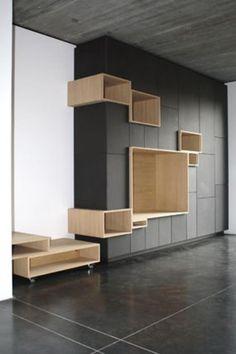 wall unit by Filip Janssens Flur Design, Küchen Design, House Design, Design Ideas, Tv Furniture, Furniture Design, Interior Architecture, Interior Design, Wardrobe Design