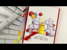 Copic shading light colors – Hippo Bird Day I was recently asked about how to do shading while keeping the colors light. Well, rather than just going for light colors only, there are a few ti… Sandy Allnock, Watercolor Beginner, Coloring Tutorial, Shaped Cards, Mft Stamps, Colouring Techniques, Copics, Copic Markers, Birthday Balloons