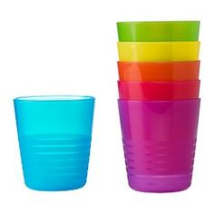 KALAS Tumbler - IKEA. Just bought on 6/20/14. Great size for shoe box, very sturdy and bright. There are bowls, plates, & utensils to match.