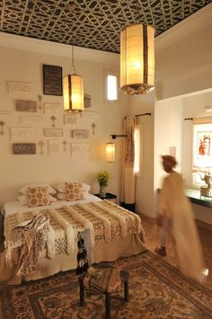 Dreamy bedroom at Peacock Pavilions boutique hotel in #Marrakech - M.Montague #tribalchic