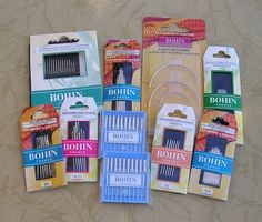 I carry lots of bohin needles, milliner, chenille, applique, beading, darners, sashiko, tapestry, embroidery, discovery packs and much more. They are superb needles.  Exceptional polish for smooth glide through fabric. Fine point to minimize holes. Eye polished with a unique process to minimize breaking thread. Maximum strength, minimum bending.  I also sell some of the needles in bulk in 25 and 50 mini packs.
