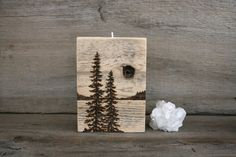 Pine Trees Reclaimed Wood Candle Holder Wood by TwigsandBlossoms