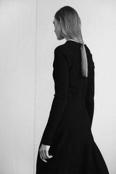 Long black dress & ponytail; chic minimal fashion; minimalist style // Christophe Lemaire Fall 2014