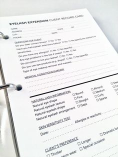 Client Record Cards - Eyelash Extension