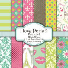 I love Paris Rue Soleil  Set de papeles por pixelpaperprints, $4.25