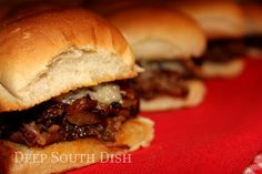 Three Envelope Crockpot Roast Beef - Make Meal #1 of this 3 Envelope Roast a traditional supper of roast & mashed potatoes and Meal #2 can feature these yummy sliders made with caramelized onion and Swiss cheese on toasted buns.