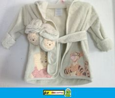 Disney Baby Winnie the pooh bath robe with matching slippers $12.50