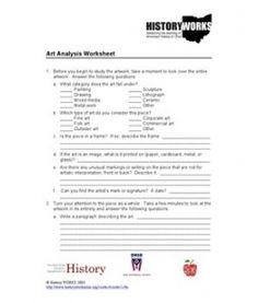 Art Analysis Worksheet yr 7-9