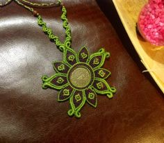"Macrame Necklace ""flower"", medallion and red jasper beads"