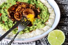 Avocado salsa and paprika egg breakfast