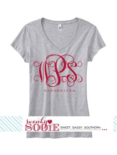 I want this but for ALABAMA!!! OMG this is a Must!!!Monogram Sooie Medium Adult Tee by SwankySooie on Etsy, $32.00