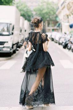 black lace ballerina bride