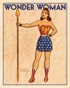 Vintage style Wonder Woman by Mark Lewis
