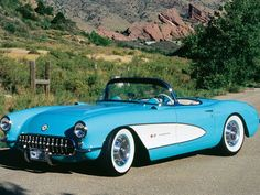 1956 Chevrolet Corvette Roadster Top Down Driver Side Front View ...