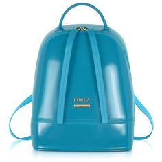 Furla Handbags Candy Jelly Rubber Mini Backpack (348 CAD) ❤ liked on Polyvore featuring bags, backpacks, handbags, turquoise, mini backpack, miniature backpack, blue backpack, blue bag and woven bag