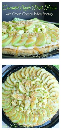 his Caramel Apple Fruit Pizza starts with a brown sugar cookie crust. A cream cheese frosting filled with toffee bits is spread on top and then layers of tart green apple are added. Caramel is… Sugar Cookies Recipe, Cookie Recipes, Dessert Recipes, Vegan Recipes, Apple Fruit, New Fruit, Apple Desserts, Pizza Birthday Cake, Fruit Birthday