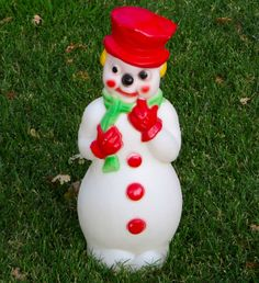 "Vintage 22"" Christmas Snowman Lighted Blow Mold Outdoor Yard Decor Decoration | eBay"