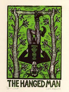 The Hanged Man Tarot Card Linoleum Block Print via Etsy Hanged Man Tarot, The Hanged Man, Linoleum Block Printing, Tarot Major Arcana, Tarot Learning, Linocut Prints, Tarot Cards, I Card, Printmaking