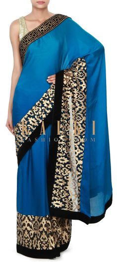 Buy Online from the link below. We ship worldwide (Free Shipping over US$100) Price-$349 Click Anywhere to Tag http://www.kalkifashion.com/blue-shaded-saree-adorn-in-applique-embroidery-only-on-kalki.html